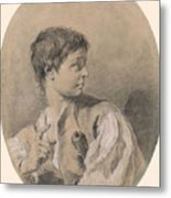 Bust Of A Boy In Profile Holding A Sword Metal Print