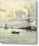 Bustling Activity In A Normandy Port Metal Print