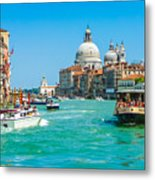 Busy Canal Grande In Venice Metal Print