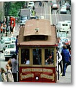 Busy Day On The California Street Cable Car Incline Metal Print