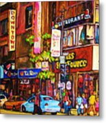 Busy Downtown Street Metal Print