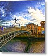Busy Ha'penny Bridge 4 V2 Metal Print