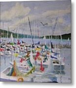 Busy Harbor Metal Print