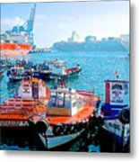 Busy Port Of Valparaiso-chile Metal Print