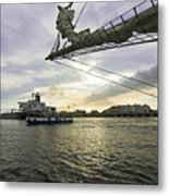Busy Ship Channel At Sunset Metal Print