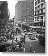 Busy State Street In Chicago Metal Print
