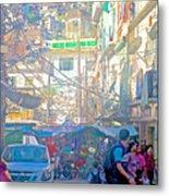Busy Street In Central Marketplace In Rocinha Favela In Rio De Janeiro-brazil  Metal Print