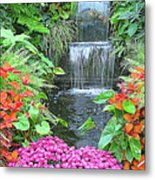 Butchart Gardens Waterfall Metal Print