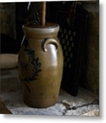 Butter Churn On Hearth Still Life Metal Print