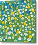 Buttercups And Daisies Metal Print