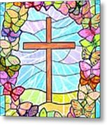 Butterflies And Cross Metal Print