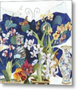 Butterflies And Orchids Metal Print