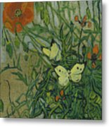 Butterflies And Poppies, 1890.  Metal Print