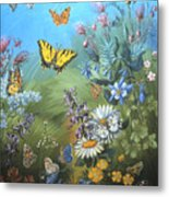Butterflies And Wildflowers Of Wyoming Metal Print