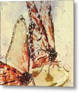 Butterflies On An Orange Slice Metal Print