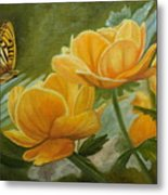 Butterfly Among Yellow Flowers Metal Print