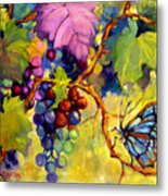 Butterfly And Grapes Metal Print