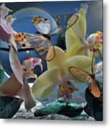 Butterfly And Orhid Metal Print
