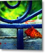 Butterfly At The Gate Metal Print