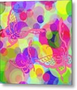 Butterfly Bubbles Metal Print