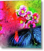 Butterfly Color Explosion Metal Print