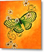 Butterfly Doodle Metal Print