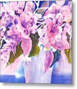 Pink Butterfly Flowers Metal Print