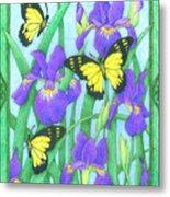Butterfly Idyll-irises Metal Print