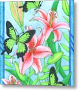 Butterfly Idyll- Lilies Metal Print