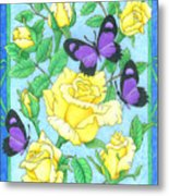 Butterfly Idyll-roses Metal Print