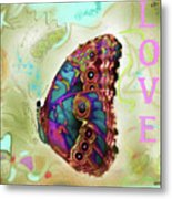 Butterfly In Beige And Teal Metal Print