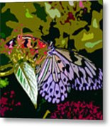 Butterfly In Garden Metal Print