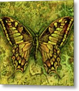 Butterfly In Greens-amber Collection  Metal Print