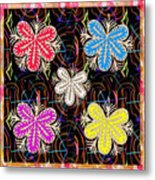 Butterfly Look Graphic Flowers Colorful  Art For A Cheerful Smiling Mood Great For Kids Room Party R Metal Print