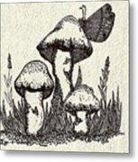 Butterfly On Mushrooms Metal Print
