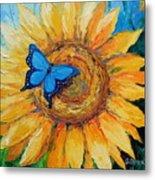 Butterfly On Sunflower Metal Print