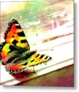 Butterfly On The Window Frame Watercolor Metal Print