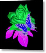 Butterfly Sitting On A Rose Metal Print