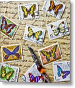 Butterfly Stamps And Old Document Metal Print by Garry Gay