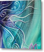 Butterfly Wing With Lotus Metal Print