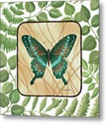 Butterfly With Leaves 2 Metal Print