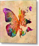 Butterfly World Map  Metal Print