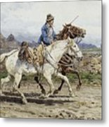 Buttero Riding In The Roman Campagna Metal Print