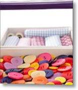 Buttons And Textile Fabrics In A Sewing Box Metal Print