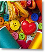 Buttons And Thread Metal Print