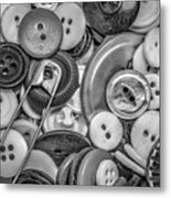 Buttons In Black And White Metal Print