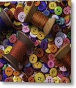 Buttons With Thread Metal Print