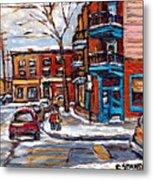 Buy Original Wilensky Montreal Paintings For Sale Achetez Petits Formats Scenes De Rue Street Scenes Metal Print