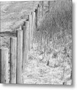 Bw Fence Line Metal Print