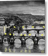 Bw Prague Bridges Metal Print